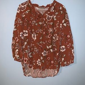 LOFT XL floral print burnt orange blouse